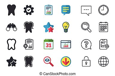 Tooth enamel protection icons. Dental care signs. Healthy...