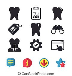 Dental care icons. Caries tooth and implant. - Dental care...