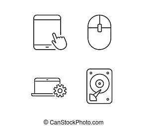 Notebook, Hard disk drive and Tablet PC icons. - Notebook,...