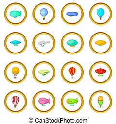 Vintage balloons icons circle gold in cartoon style isolate...