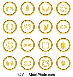 Ear corn icons circle gold in cartoon style isolate on white...