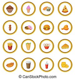 Fast food icons circle gold in cartoon style isolate on...