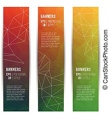 Abstract Triangle Vertical Banners Set - Set of vertical...