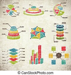 Vintage Infographics Set - Vintage infographics with...