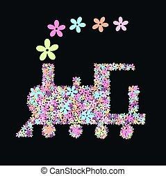 flower train - illustration of a train full of flowers