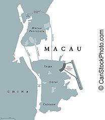 mapa, político, Macao