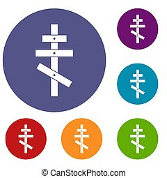 Orthodox cross icons set in flat circle reb, blue and green...