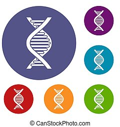 DNA strand icons set