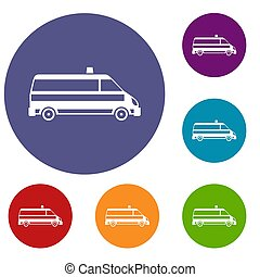 Ambulance car icons set in flat circle reb, blue and green...