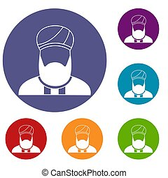 Muslim preacher icons set in flat circle reb, blue and green...