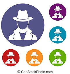 Spy icons set in flat circle reb, blue and green color for...