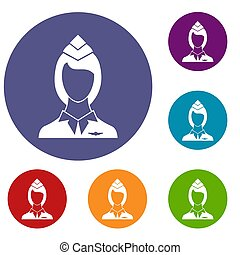 Stewardess icons set in flat circle reb, blue and green...