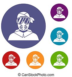 Paintball player wearing protective mask icons set
