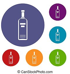Bottle of vodka icons set in flat circle reb, blue and green...