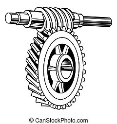 Worm gear mechanism - Vector worm gear mechanism isolated on...
