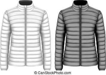Women's insulated down jackets, black and white variants....