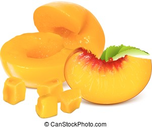 Ripe peach slices - Half cut peaches without pits and ripe...