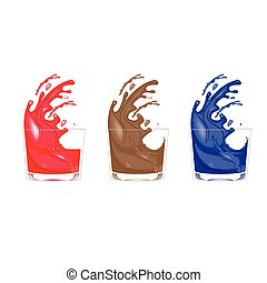 three glasses with colourfull splasches - vector...