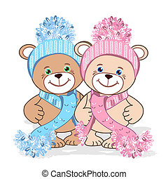 Teddy bear in a knitted hat with a bubo