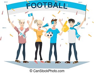 Football sports fans supporting teams