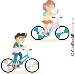 Cute children on bike