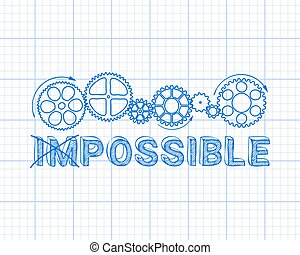 Impossible Graph Paper - Impossible, possible text with gear...