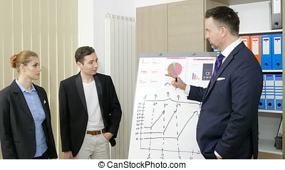 Businessman drawing on white board and explayning trends to...