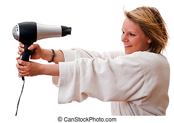 young woman with hair dryer V1
