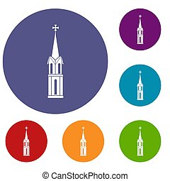 Church icons set in flat circle reb, blue and green color...