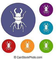 Rhinoceros beetle icons set in flat circle reb, blue and...