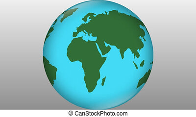 Stylized earth blue element with green continents rotating on grey gradient background, travelling symbol, travel advertisement, world news intro, environmental theme, natural science,