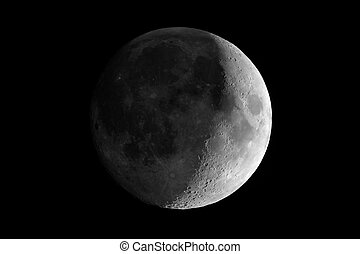 Waxing crescent moon seen with telescope - Waxing crescent...