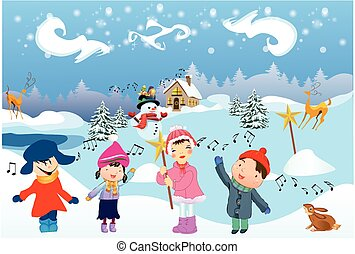 Children sing the Carol - winter landscape and children who...