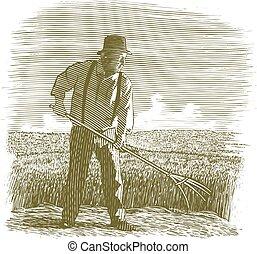 Woodcut Wheat Farmer
