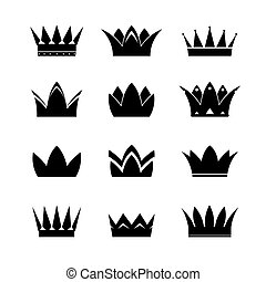 Set of black vector crowns and icons