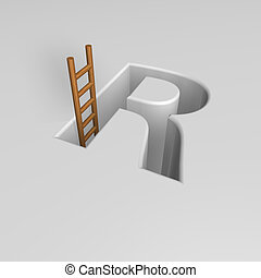 letter r and ladder - uppercase letter r shape hole with...