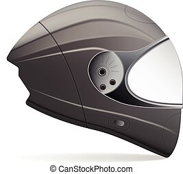 Black Motorcycle Helmet. Side View Isolated On A White Background. Vector Illustration.