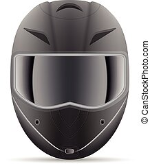Black Motorcycle Helmet. Front View Isolated On A White Background. Vector Illustration.