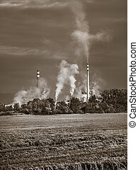 Pipe emissions into the atmosphere - Industrial smoke from...