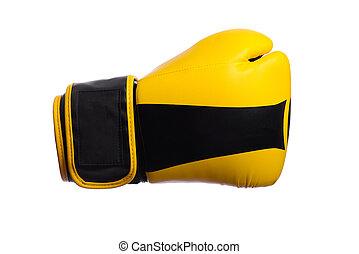one Yellow boxing mitts on a white background - Yellow...
