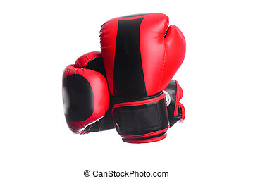 two crossed black boxing mitts on a white background - two...