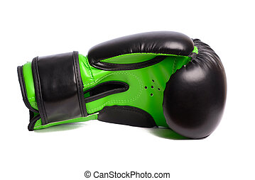 one black boxing mitts on a white background