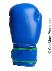 one blue boxing mitts on a white background - one black...