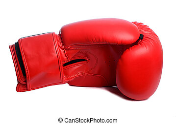 one Red boxing mitts on a white background