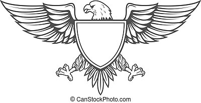 Eagle with shield isolated on white background. Design element for emblem, badge. Vector illustration.