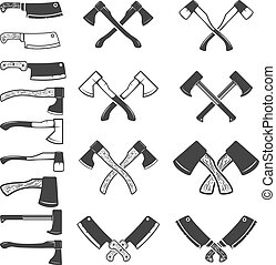 Set of the axe icons isolated on white background. Meat cleaver. Design element for logo, label, emblem, sign, poster. Vector illustration.