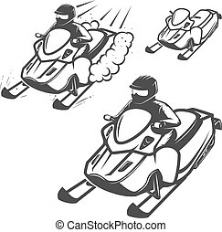 Set of snowmobile illustrations with driver isolated on...