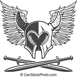 Horned helmet with crossed swords and wings isolated