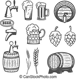 Beer mugs, wooden barrels, hop, wheat. isolated on white...