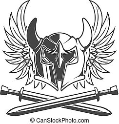 Horned helmet with crossed swords and wings isolated on white ba